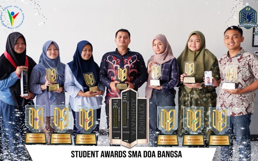 PERAIH PENGHARGAAN STUDENT AWARD 'SIX HONORS'  SMA DOA BANGSA TAHUN 2021